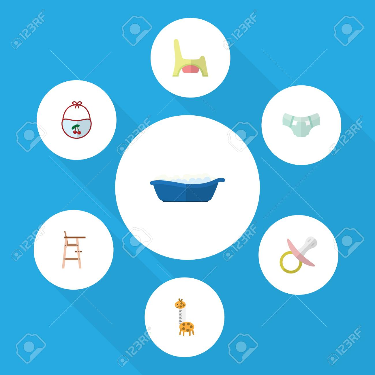 Flat Kid Set Of Toilet, Pinafore, Bathtub And Other Vector Objects ...
