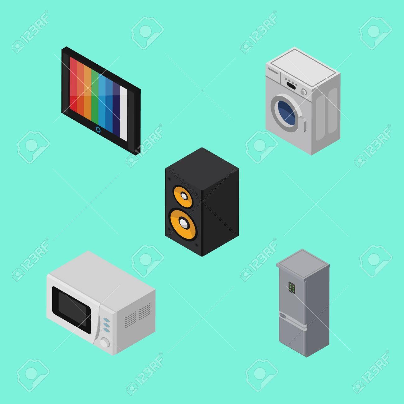 Isometrische Technologie Set Of Kitchen Kühlschrank, Fernseher ...