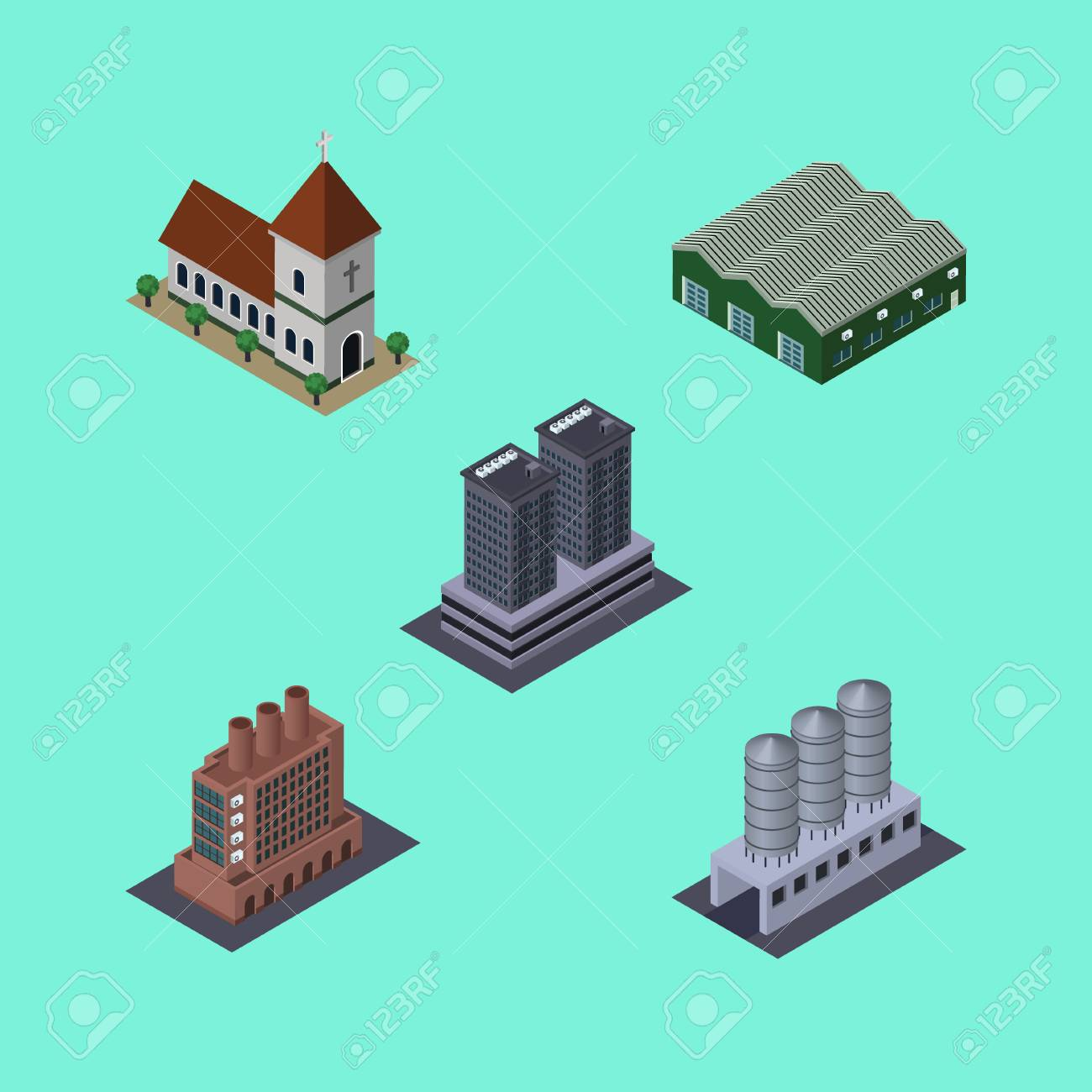 Isometric Construction Set Of Tower, Water Storage, Warehouse ... on