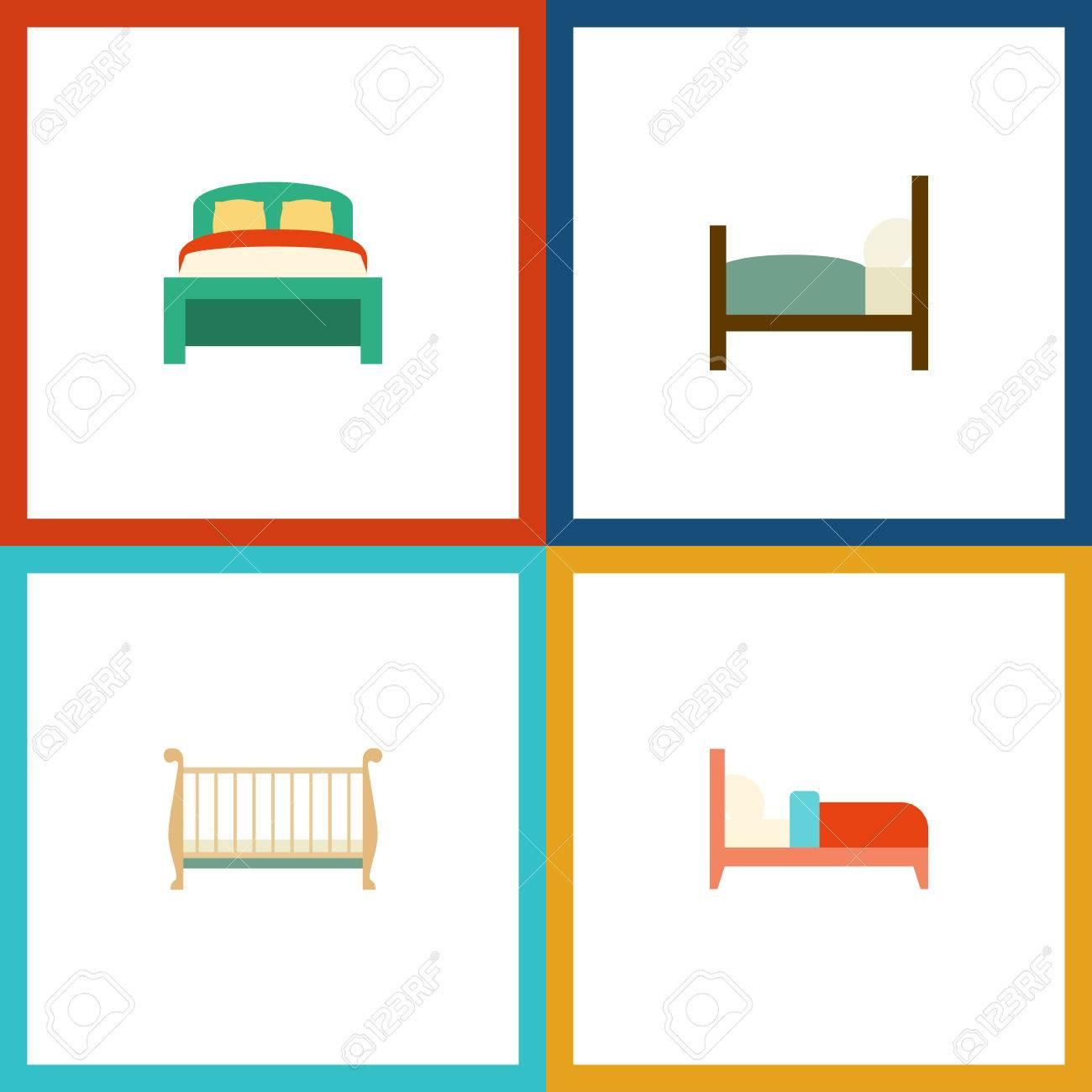 Conjunto De Dormitorio Plano De Muebles, Cuna, Cama Y Otros Objetos ...