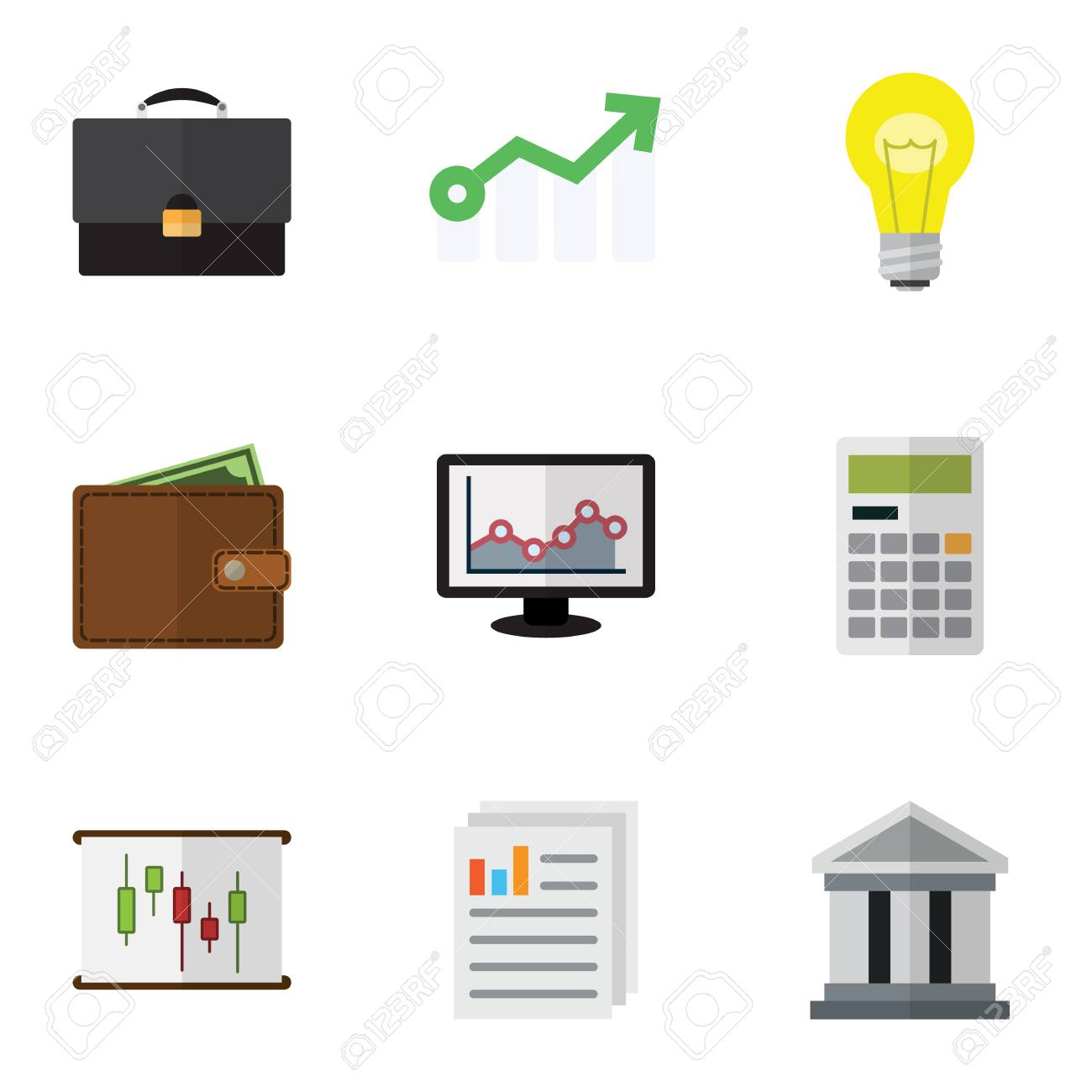 Flat gain set of chart diagram document and other vector objects flat gain set of chart diagram document and other vector objects also includes ccuart Gallery