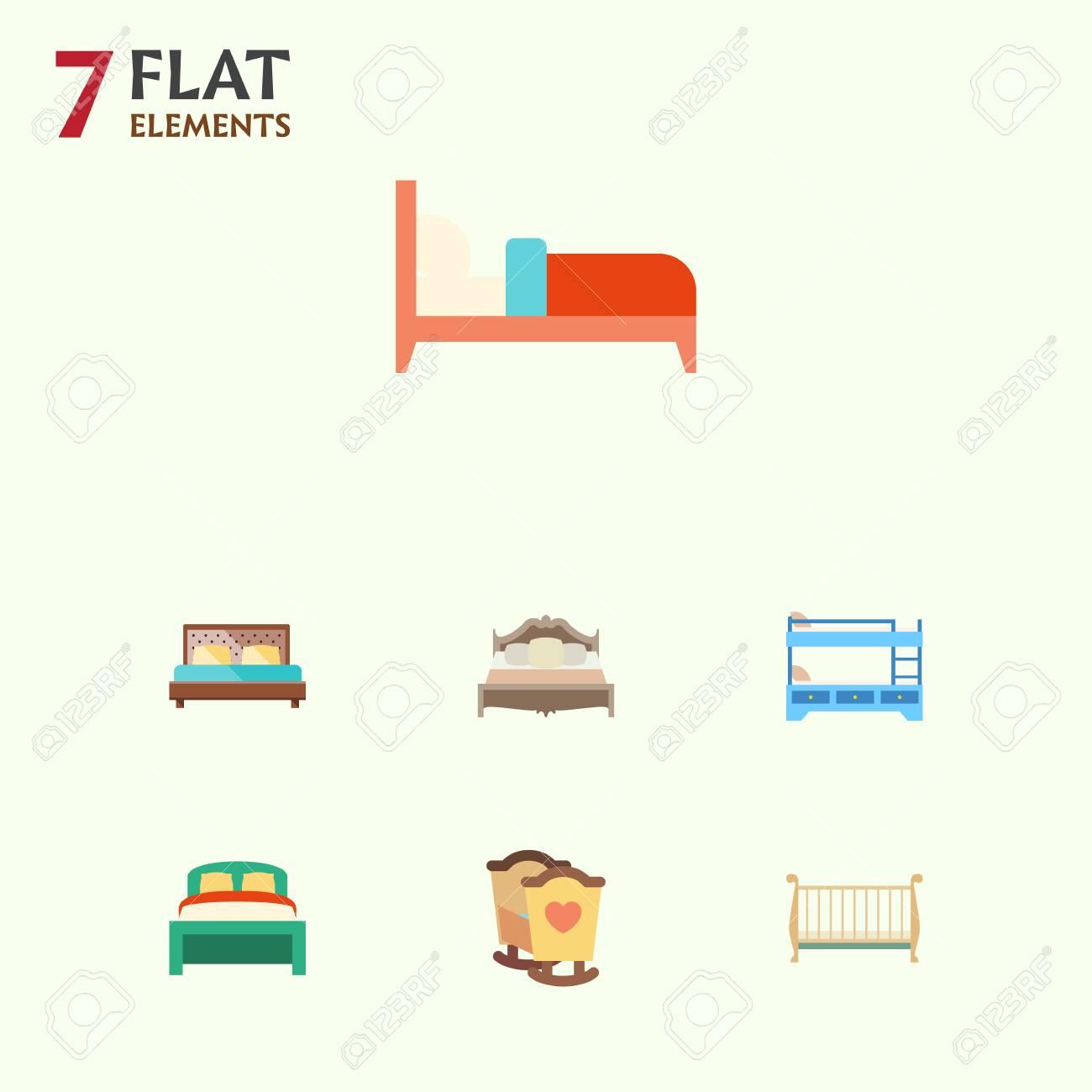 Set di camere da letto, culla, lettino e altri oggetti vettoriali. Include  anche letti a castello, mobili, elementi per la camera da letto.