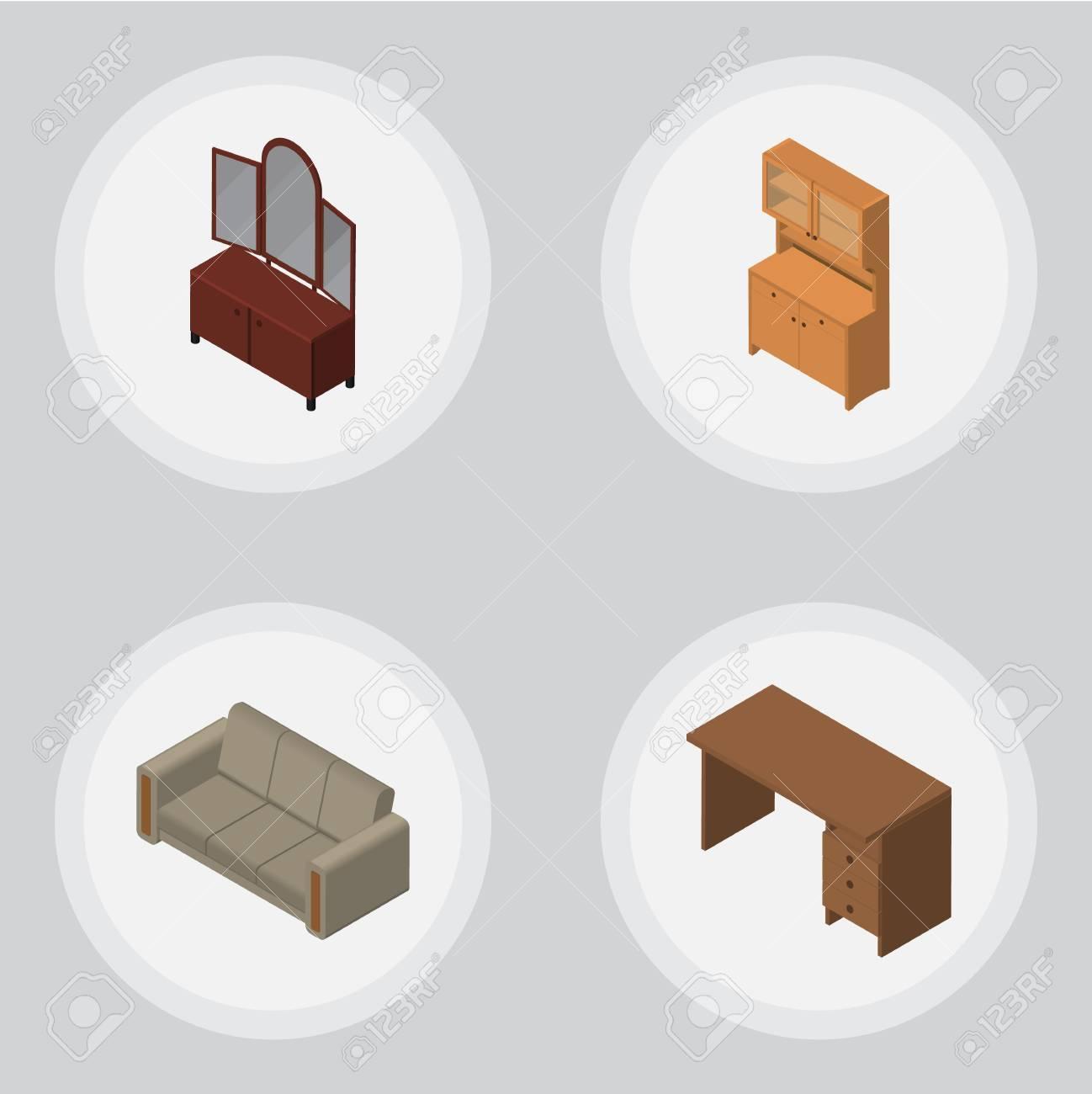 Isometrischer Möbel-Satz Der Tabelle, Der Couch, Der Fach-und ...