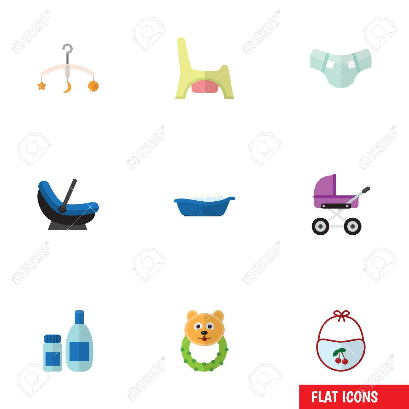 Flat Icon Baby Set Of Pram Stroller Rattle And Other Vector Overall Pinny Objects Also