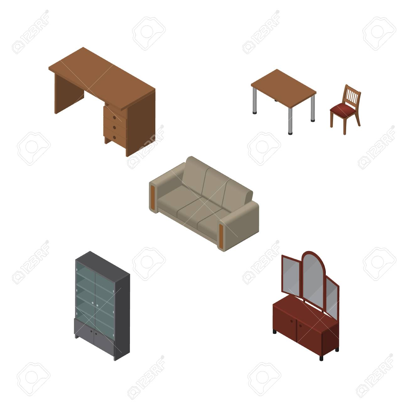 Isometrischer Einrichtungssatz Der Tabelle, Des Stuhls, Des Fachs ...