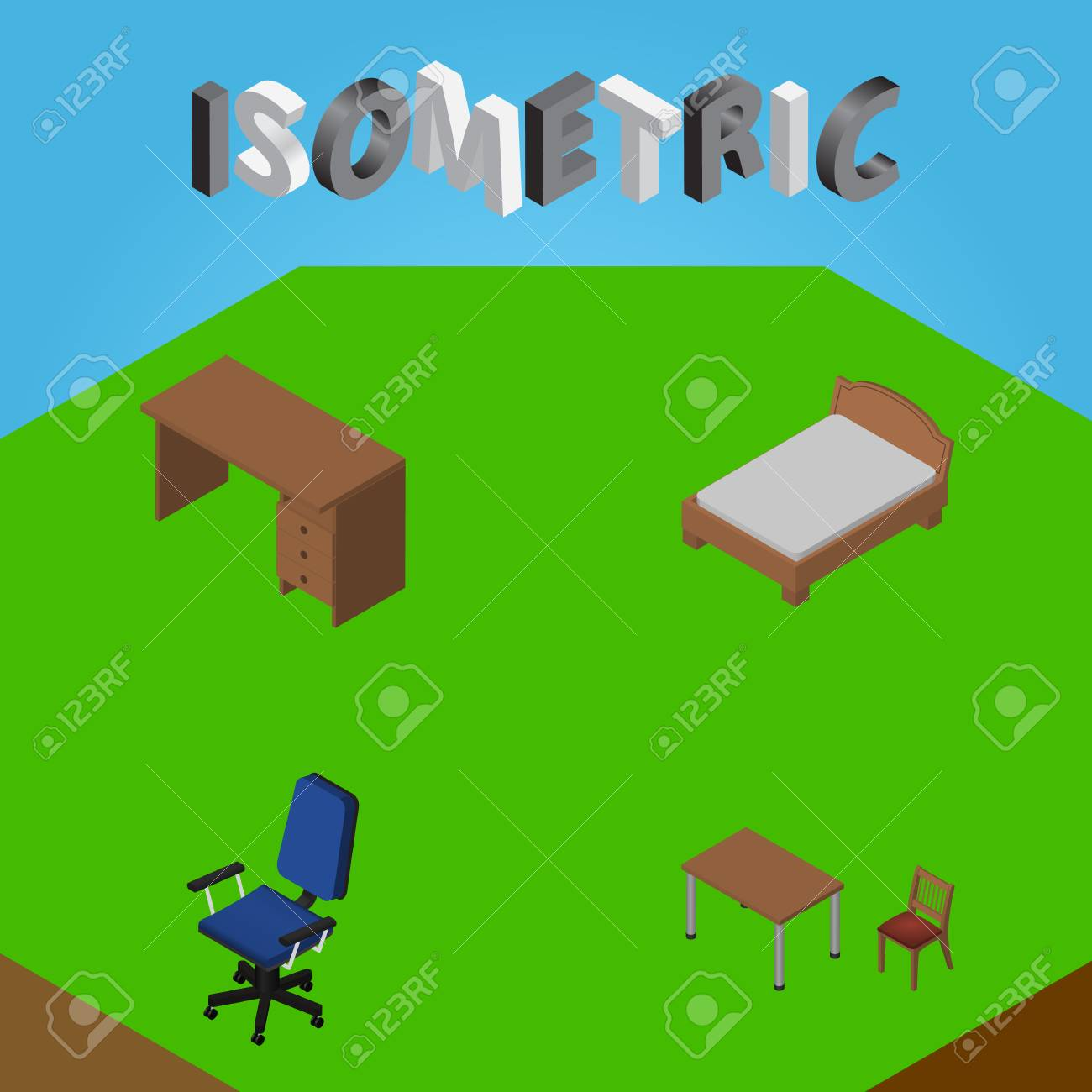 isometric office furniture vector collection. Isometric Furniture Set Of Office, Table, Bedstead And Other Vector Objects. Also Includes Office Collection O