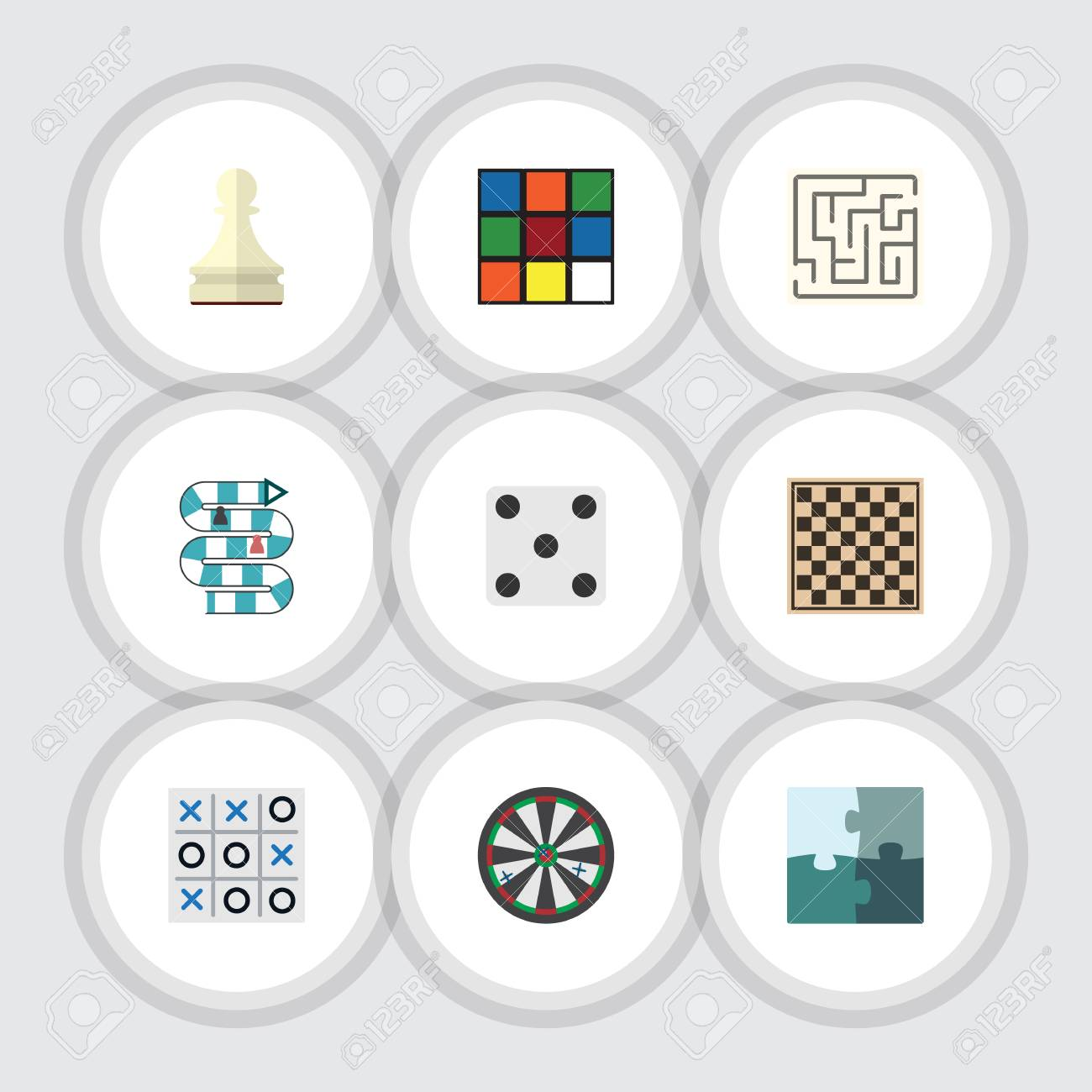 Flat Icon Entertainment Set Of Labyrinth, Multiplayer, Chess