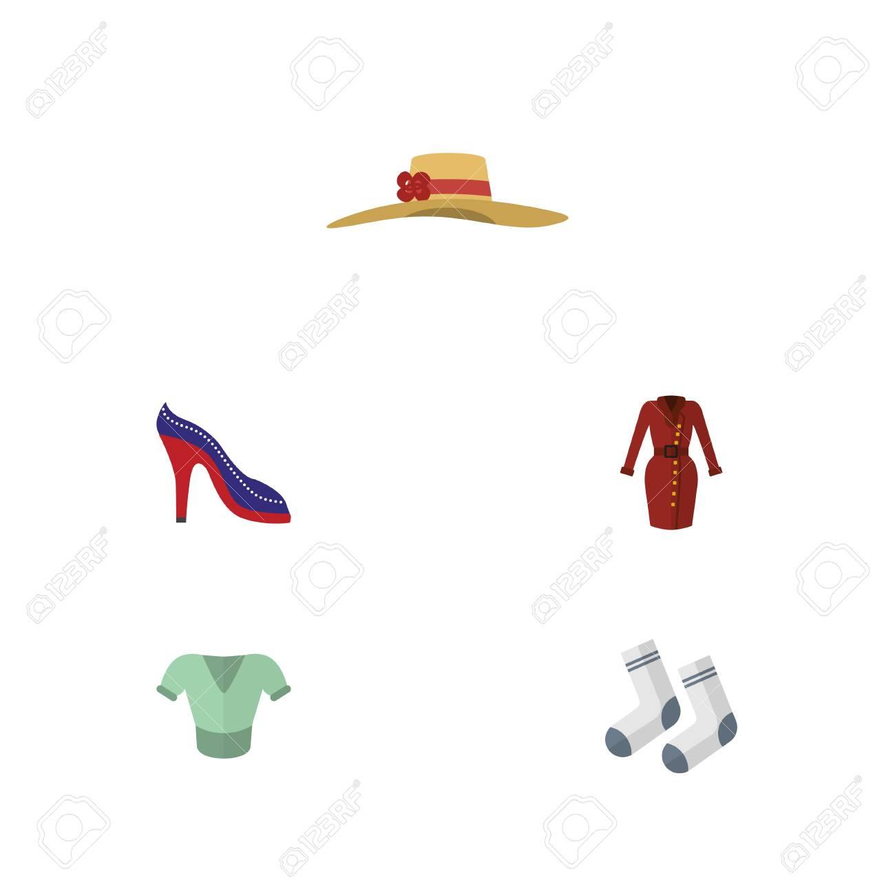 2e8d907e479 Foto de archivo - Vestido de icono plano conjunto de zapatos casuales