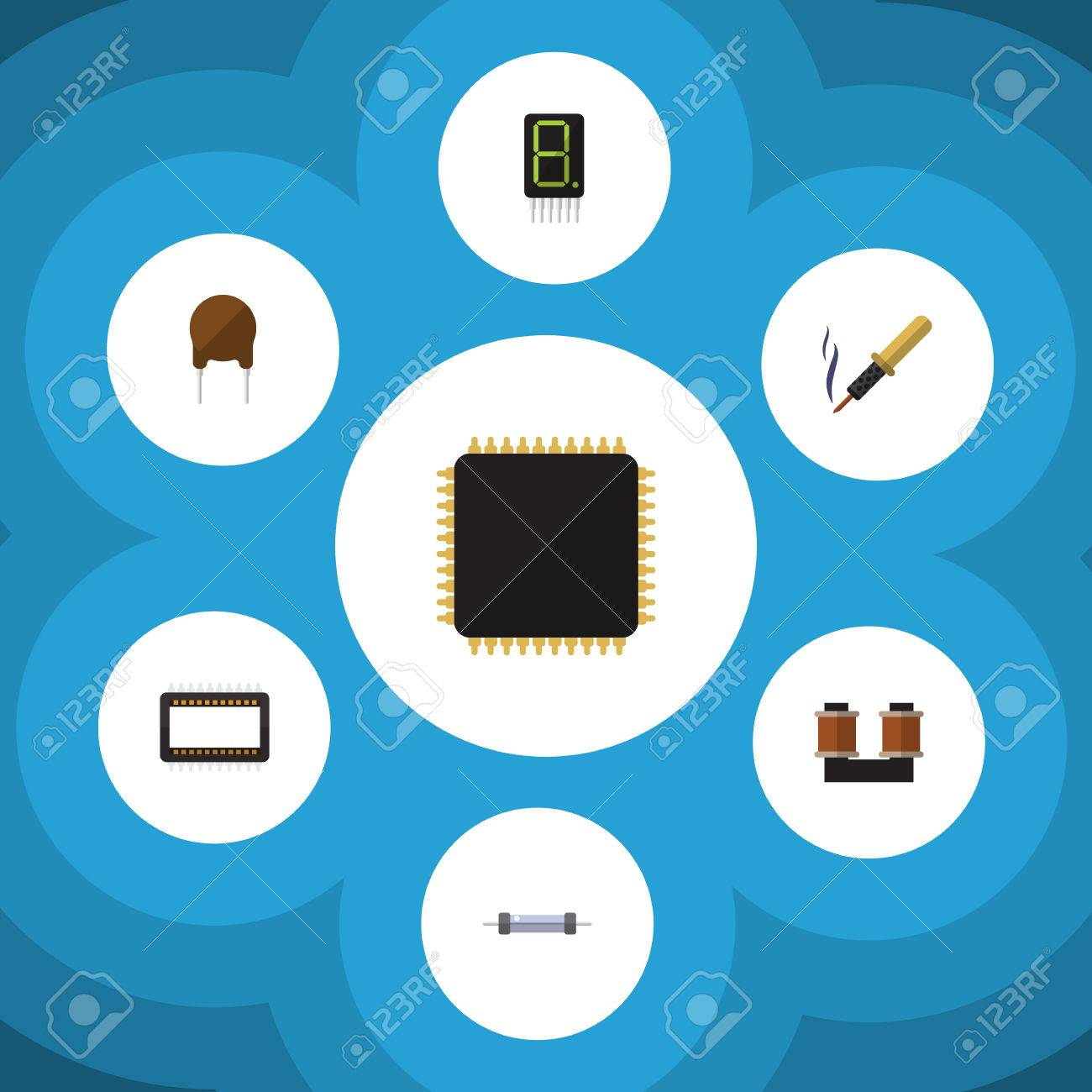 Flat Icon Technology Set Of Mainframe, Cpu, Resistor And Other ...
