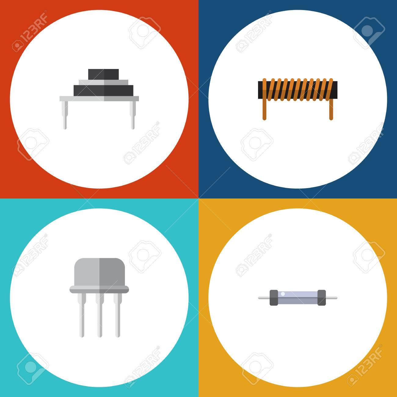 Flache Symbol Elektronik-Set Von Widerstand, Spule, Widerstand Und ...