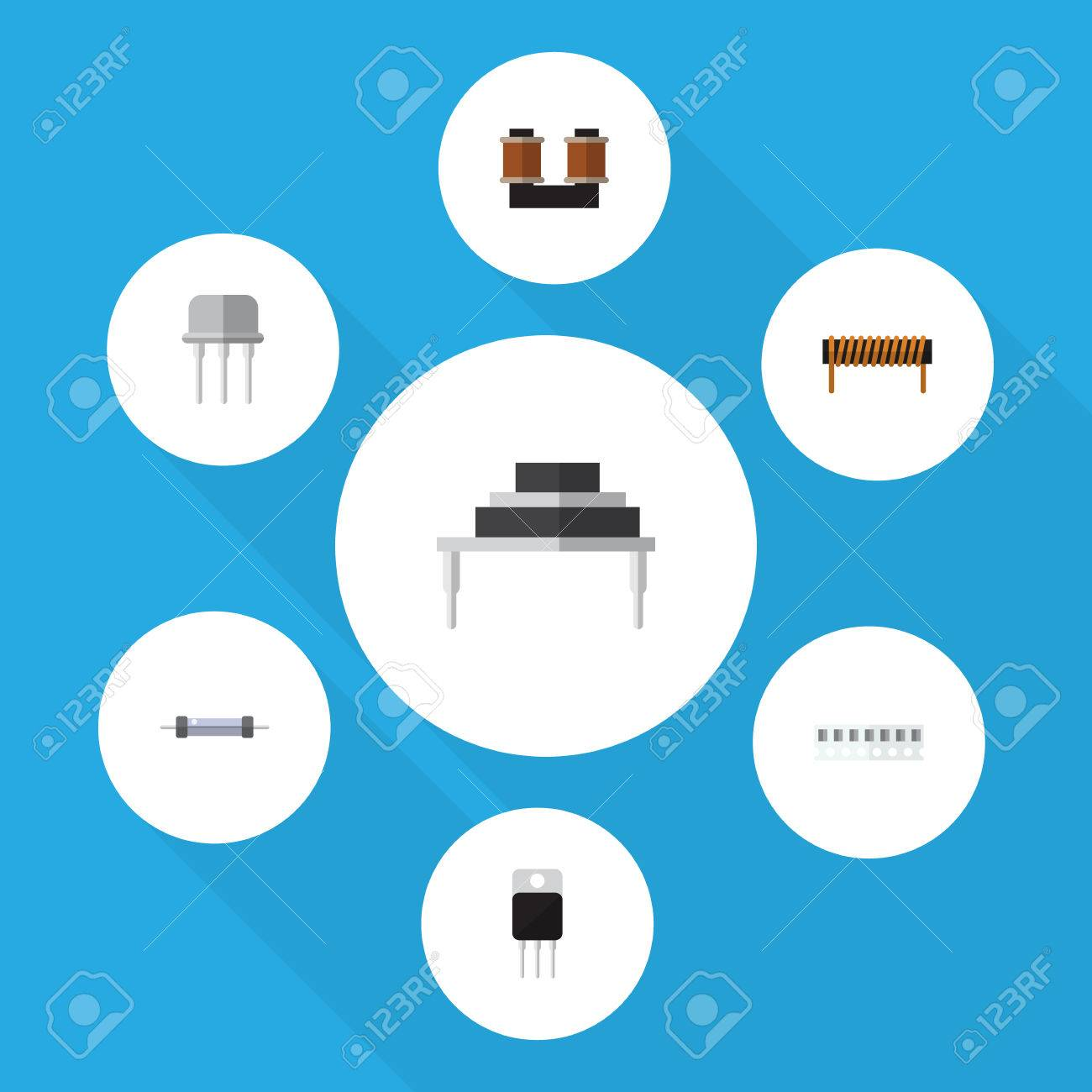 Flat Icon Electronics Set Of Receiver, Memory, Resistor And Other ...