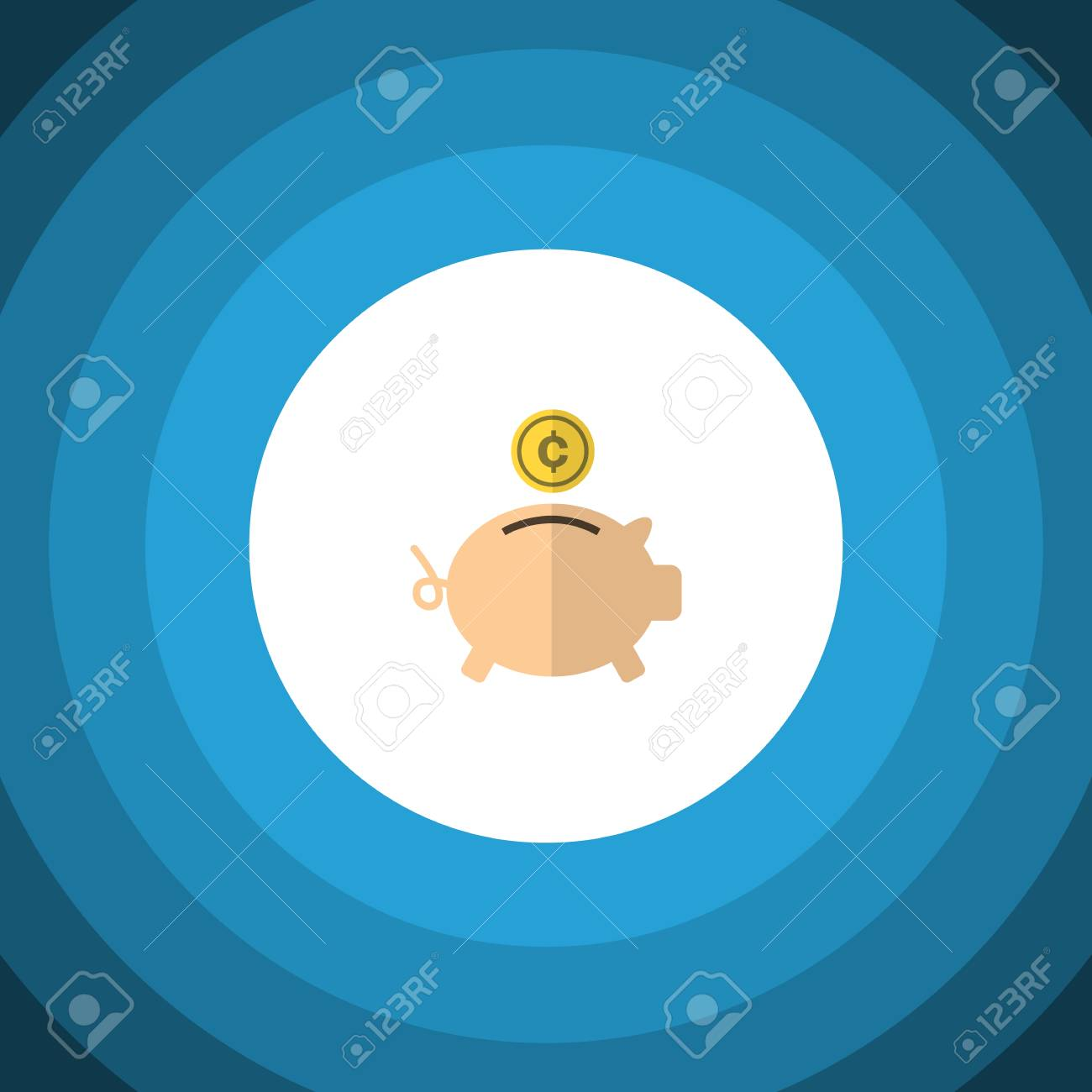 Design Bank Gebruikt.Geisoleerde Spaarvarken Platte Pictogram Spaarpot Vector Element Kan Worden Gebruikt Voor Geld Vak Bank Design Concept