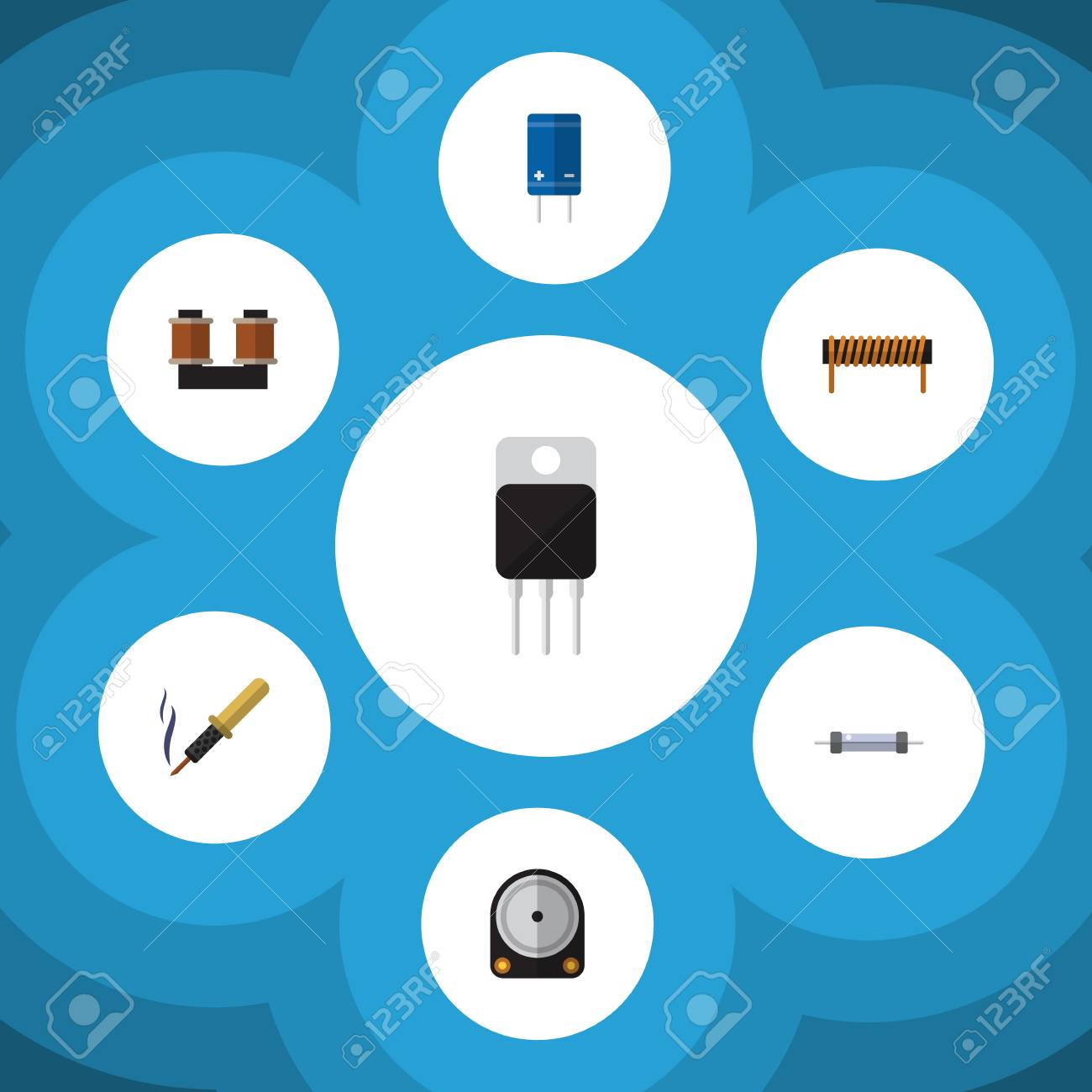 Flat Icon Device Set Of Repair, Resistor, Transistor And Other ...