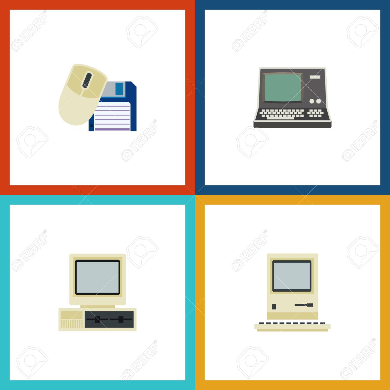 Flat Icon Laptop Set Of Computer, Computing, Technology And Other