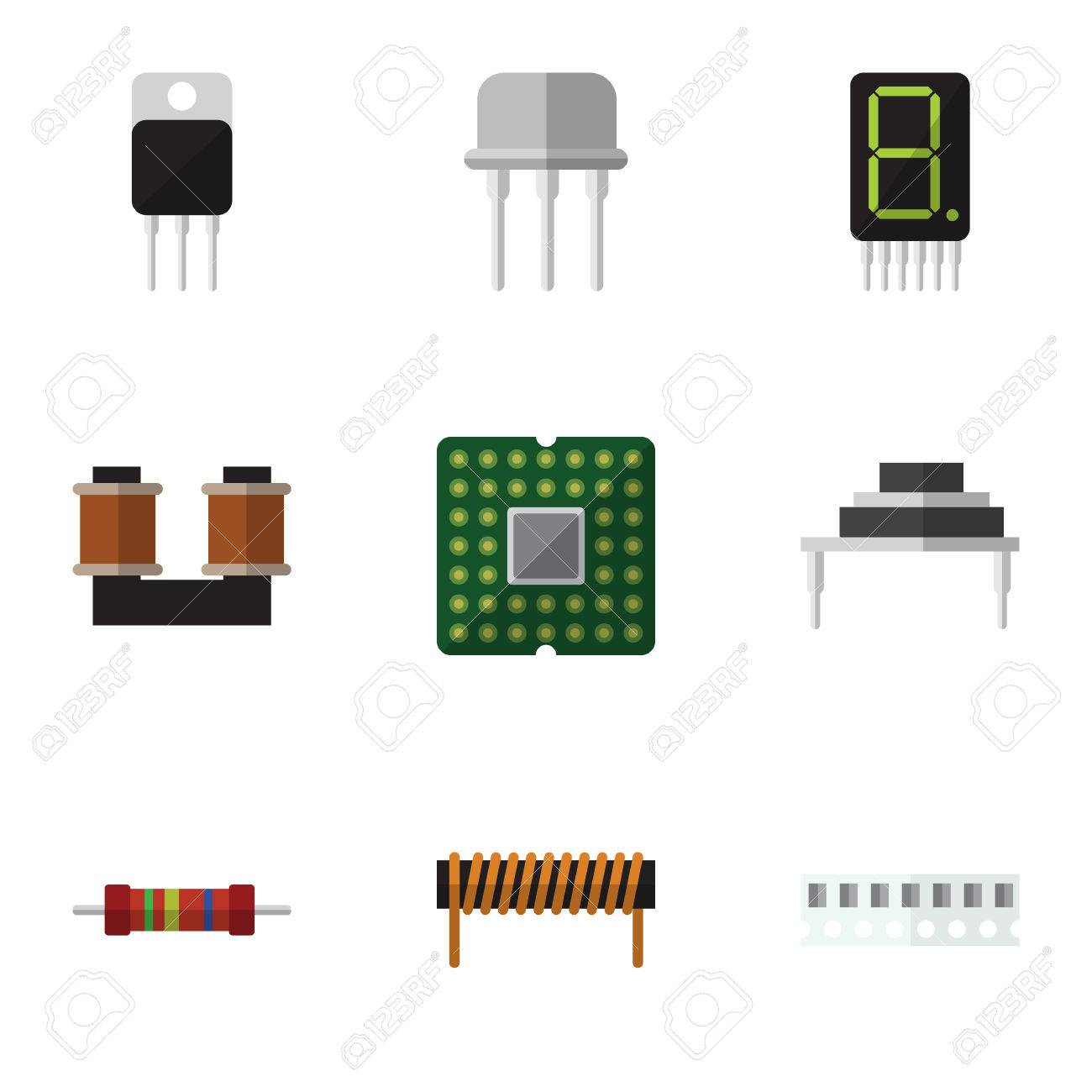 Flat Icon Appliance Set Of Destination Memory Receiver And Circuitry An Electronic Calculator Royalty Free Stock Photography Other Vector Objects Also
