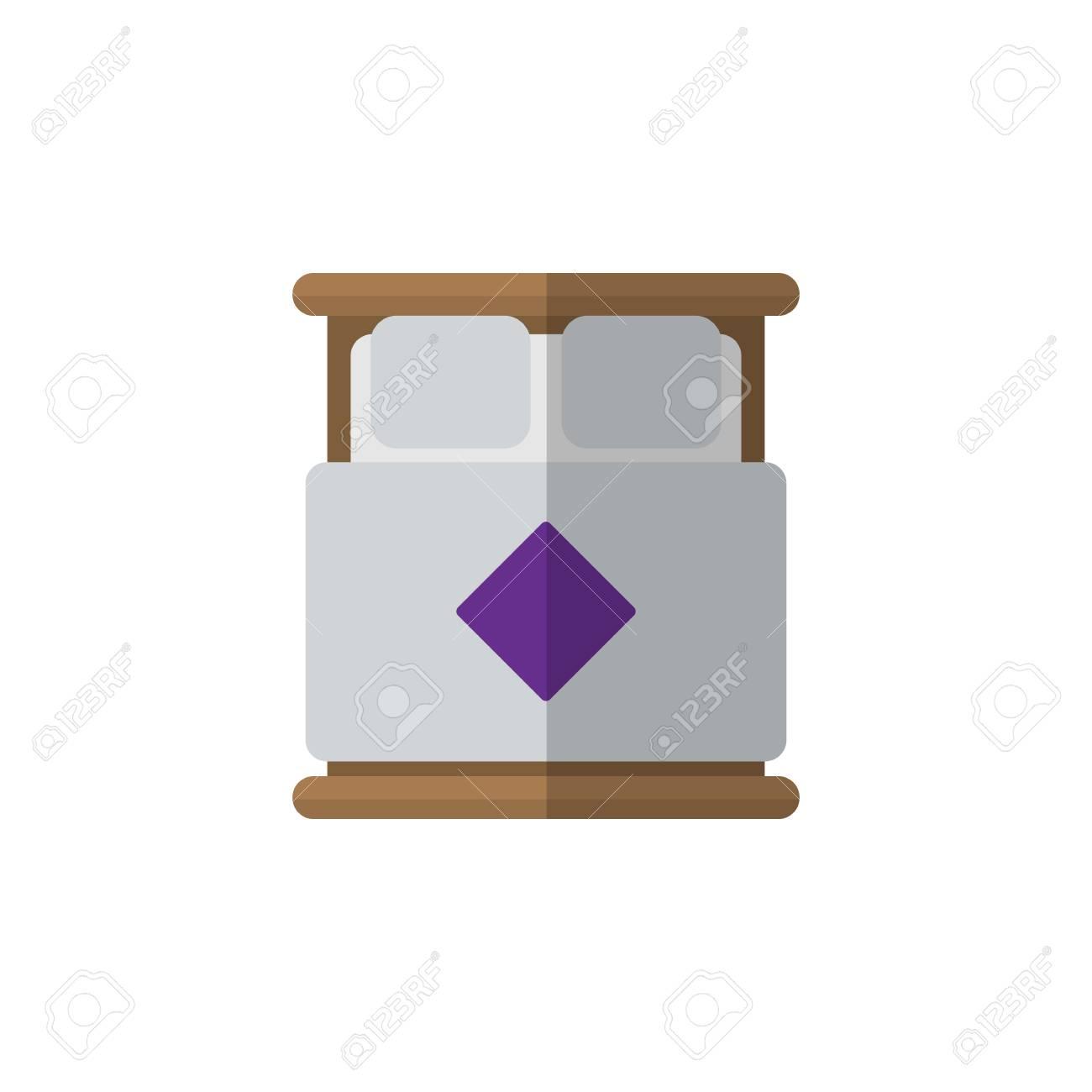 Icona piana isolata del letto matrimoniale. L\'elemento di vettore del  materasso può essere usato per il concetto di progetto del materasso,  letto, ...