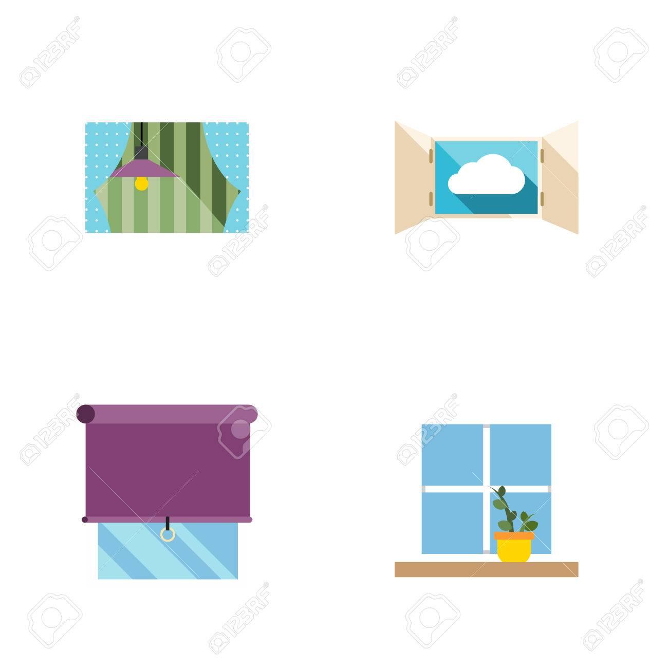 Flache Icon Frame Set Blumentopf, Vorhang, Wolke Und Andere Vektor ...