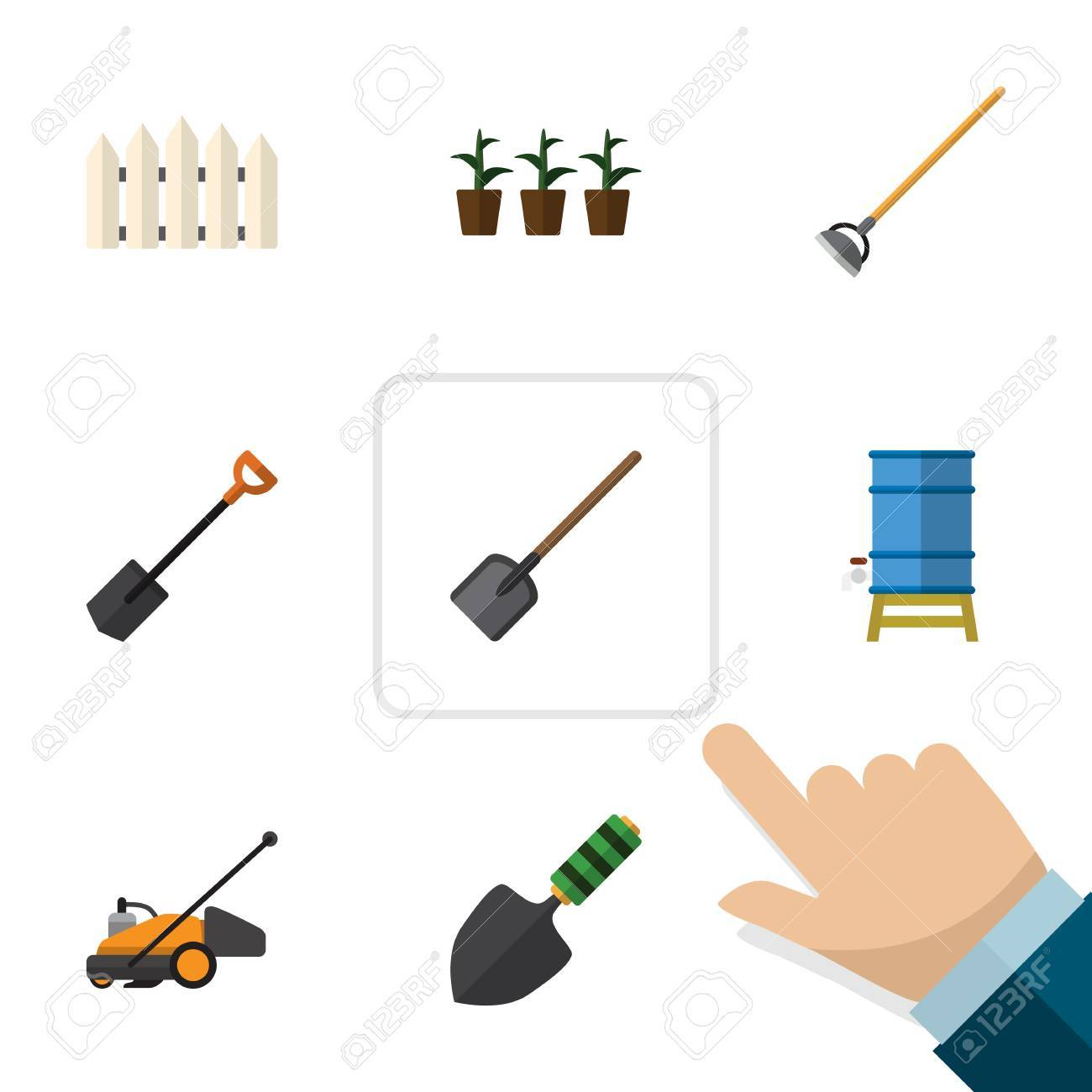 Set Of Planting Tools Icon Royalty Free Cliparts Vectors And