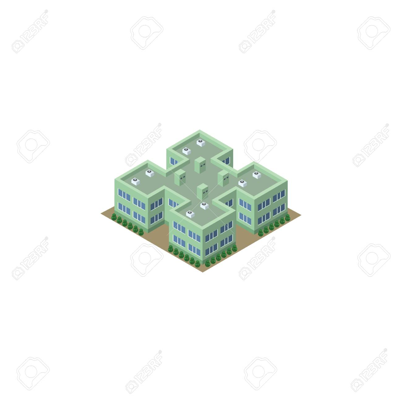 Isolated Hospital Isometric  Clinic Vector Element Can Be Used