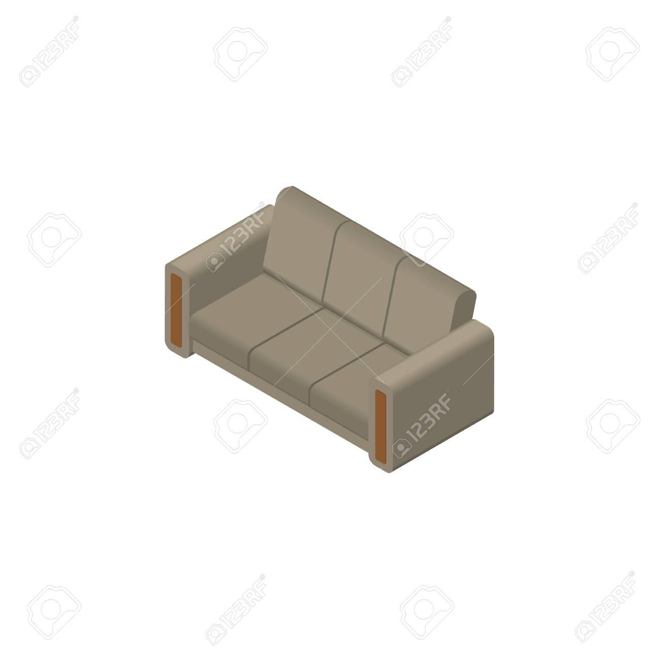 Design Bank Gebruikt.Geisoleerde Bank Isometrisch Couch Vector Element Kan Worden
