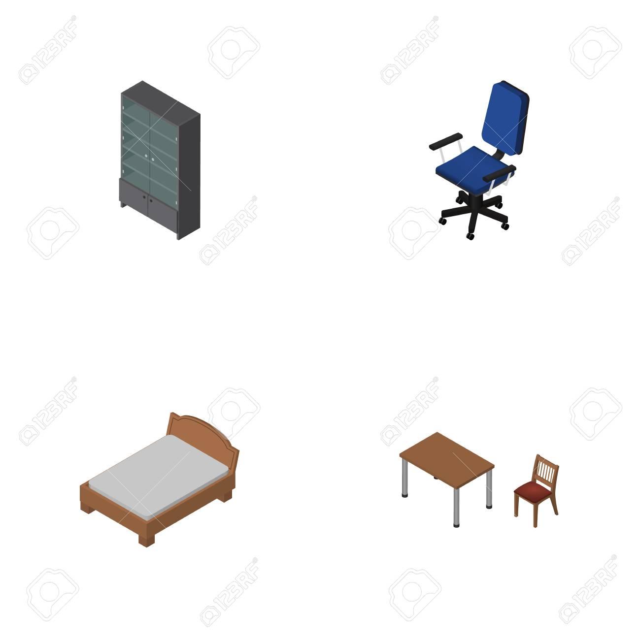 Einzigartig Anrichten Möbel Sammlung Von Isometrischer Möbel-satz Büro, Anrichten, Bettgestell Und Andere