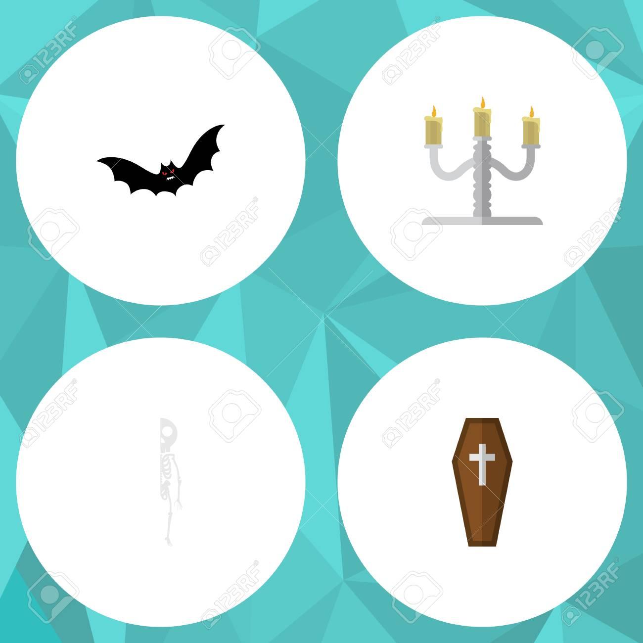 Flat Icon Festival Set Of Candlestick, Superstition, Skeleton