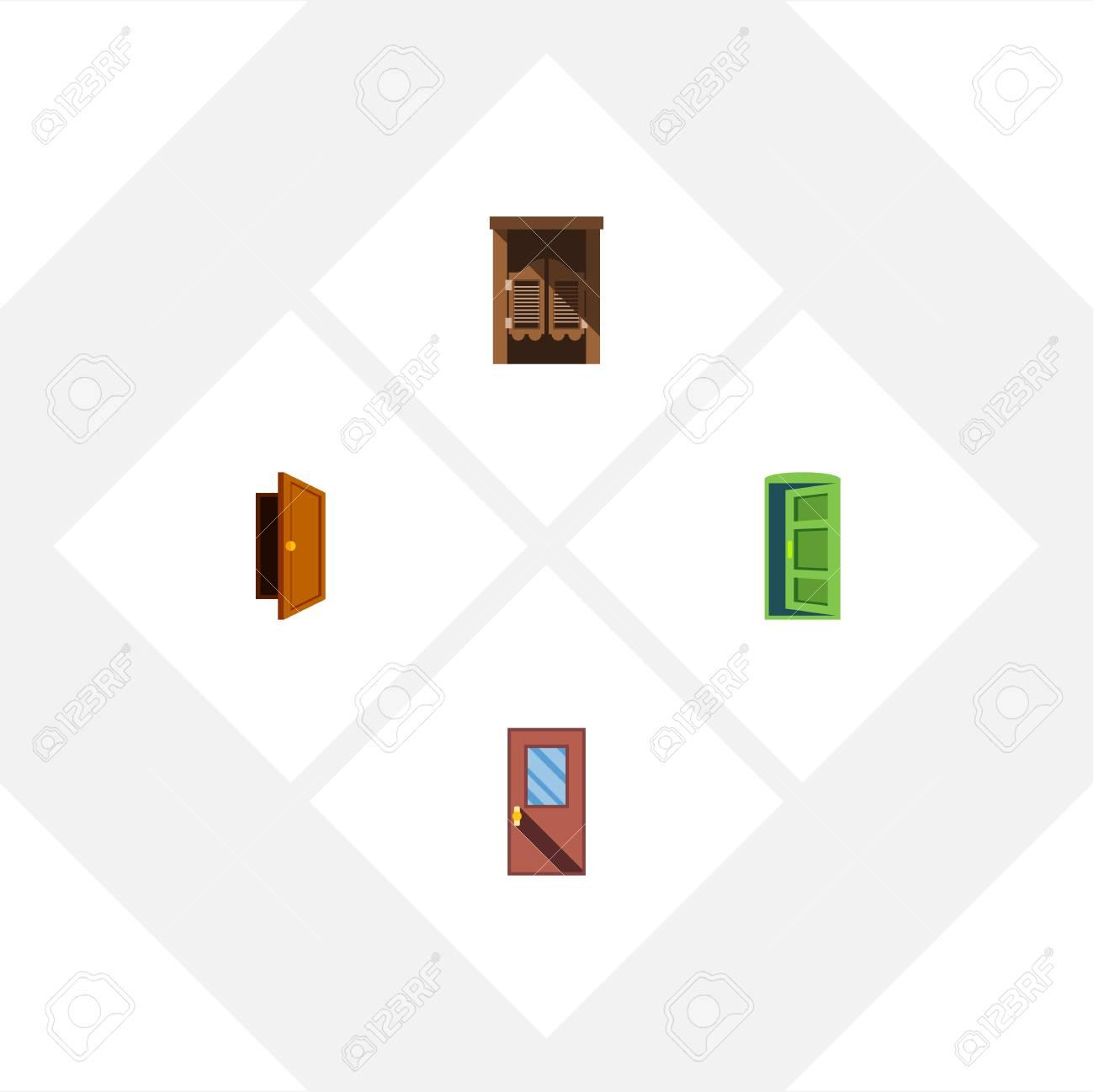 Conjunto De Puerta De Icono Plano De Entrada, Salón, Marco Y Otros ...