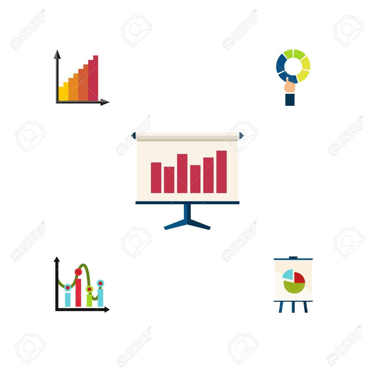 flat icon diagram set of chart, monitoring, pie bar and other vector  objects