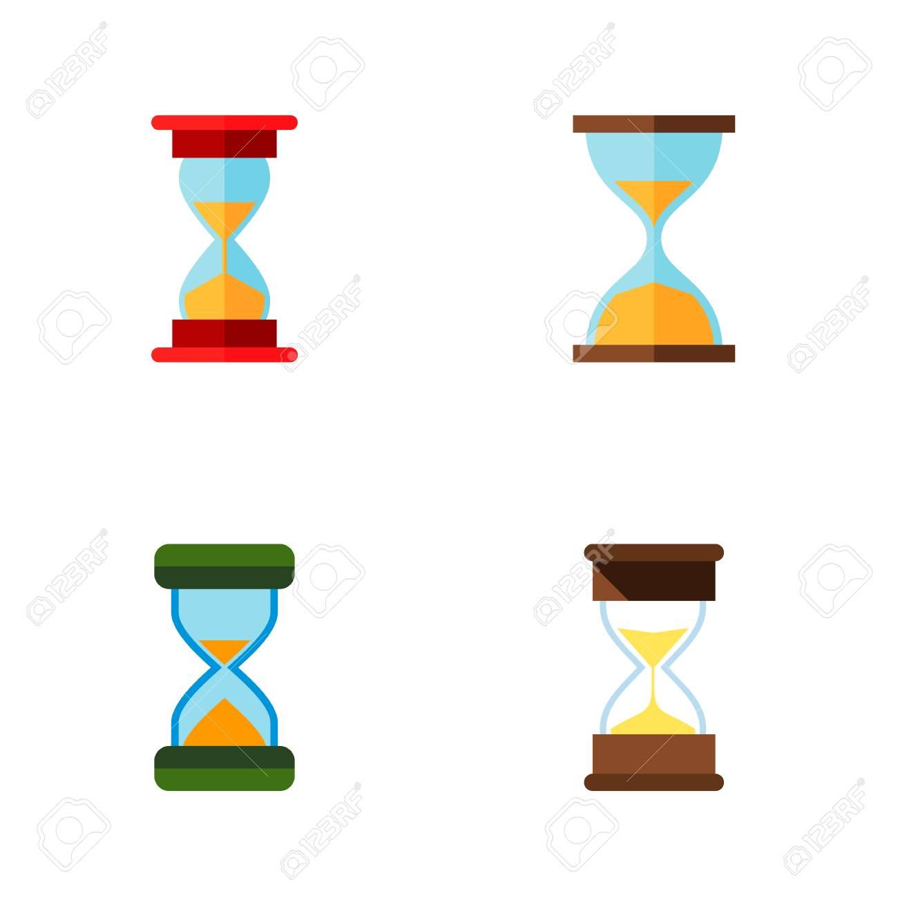 icon flat hourglass set of sand timer instrument loading objects