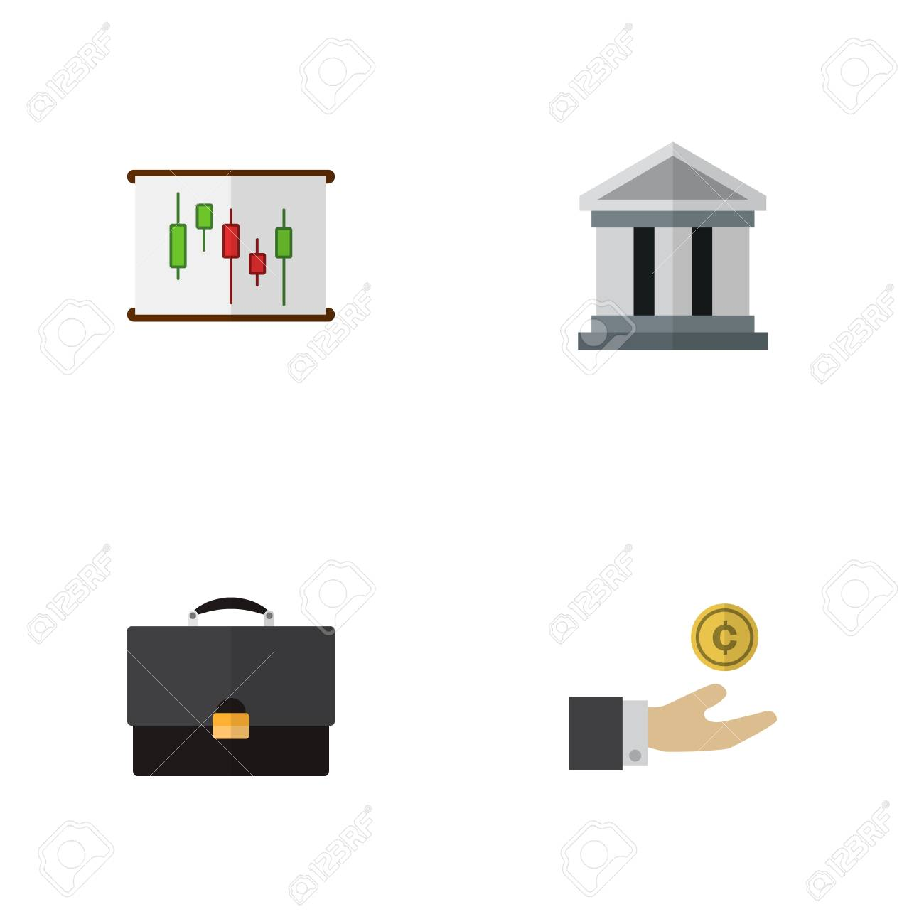 Icon Flat Finance Set Of Building Chart Briefcase And Other