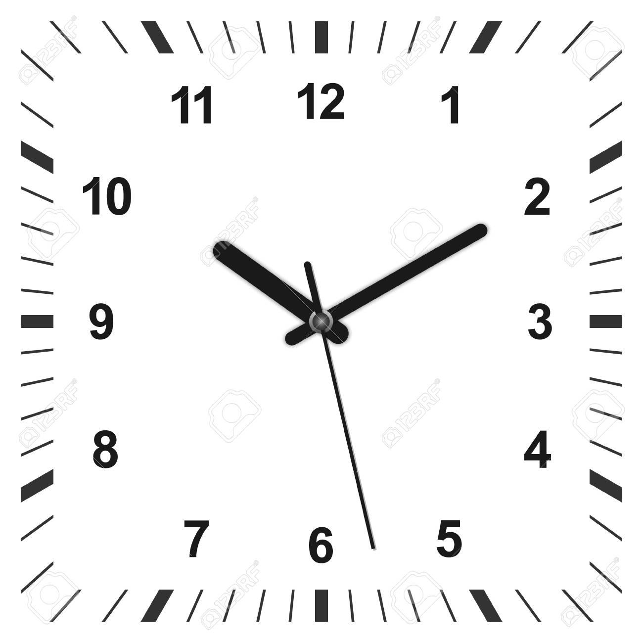 3d realistic square shaped clock. Vector illustration - 97228374