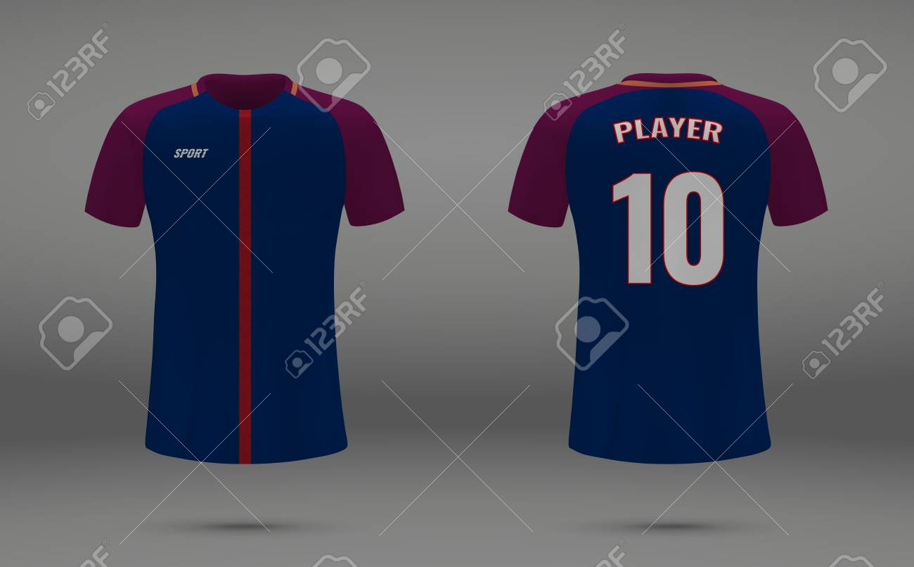 quality design 63814 5c7f6 Realistic soccer jersey, t-shirt of PSG, uniform template for..