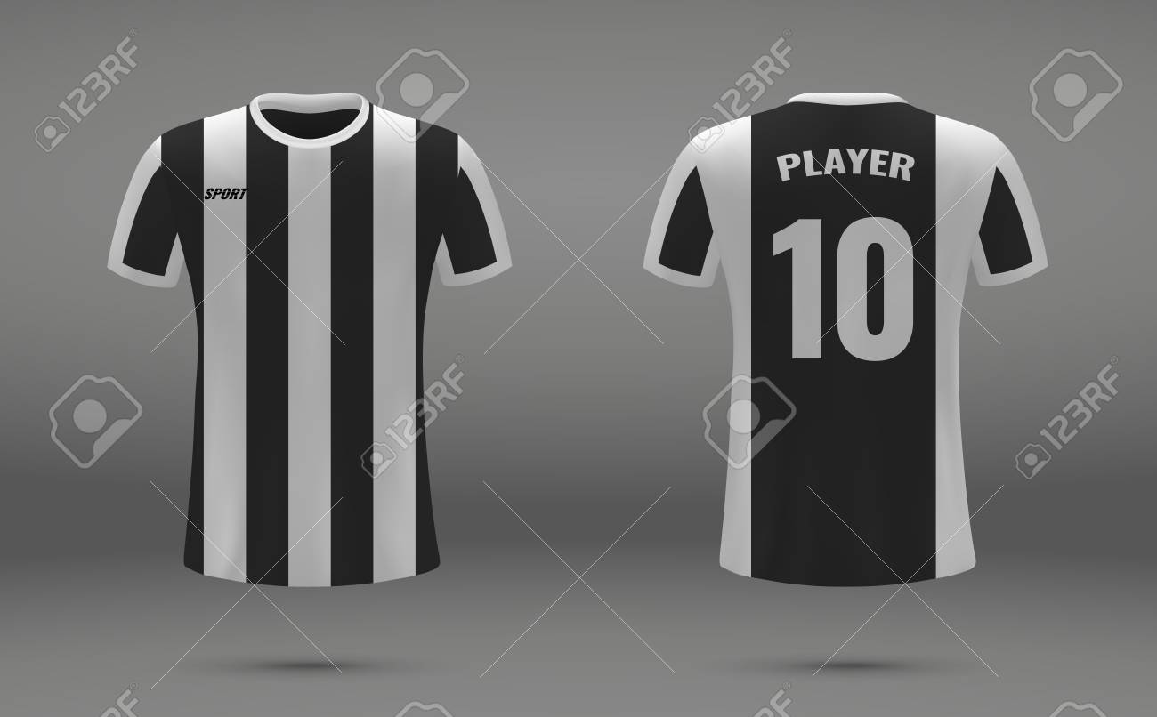 wholesale dealer 2bc26 f43f3 Realistic soccer jersey, t-shirt of Juventus, uniform template..