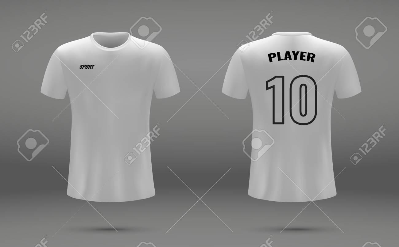 realistic soccer jersey t shirt uniform template for football
