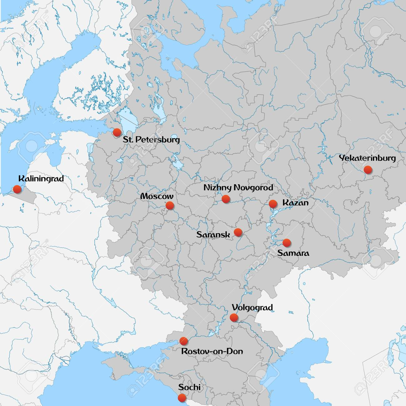 Map of European Russia with football host cities