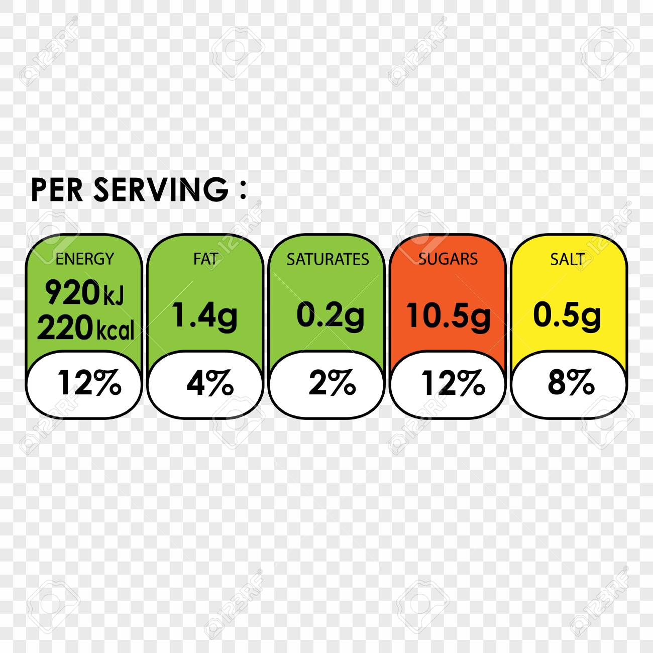 nutrition facts information label for cereal box package royalty