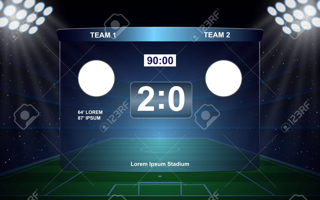 Football Scoreboard Broadcast Graphic Soccer Template Royalty Free