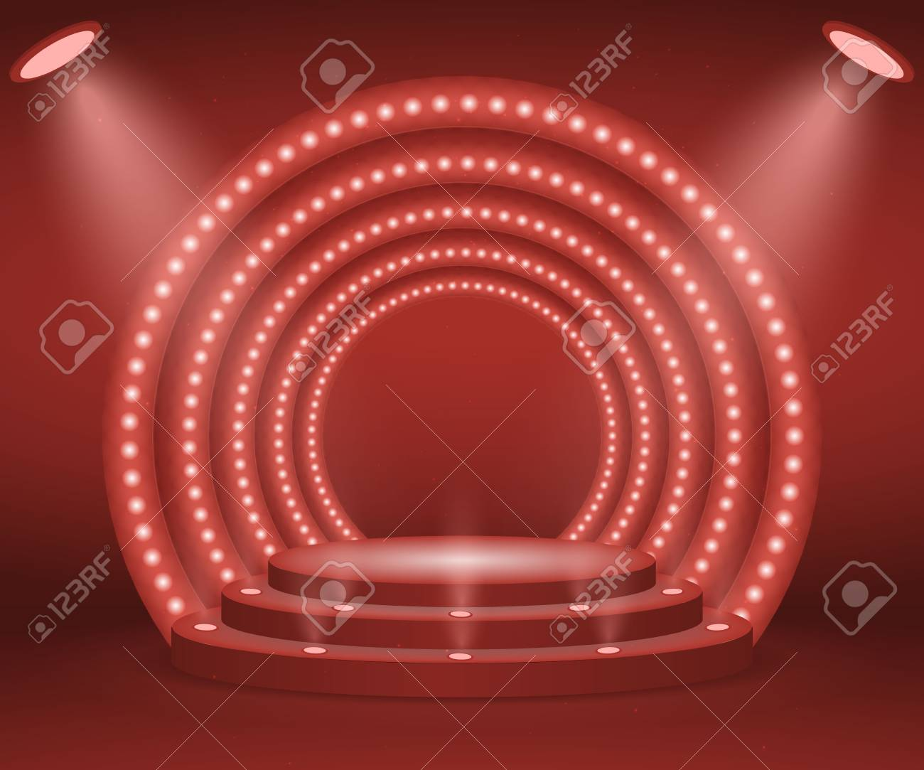 Stage with lights for awards ceremony. Illuminated Round Podium. Pedestal. - 102495386