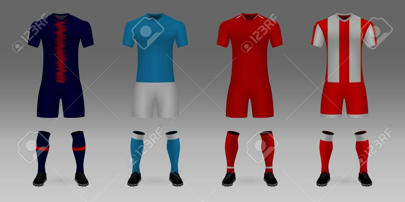 separation shoes 60e0c 7597f Set of 3D realistic template soccer jersey PSG, Napoli, Liverpool,..
