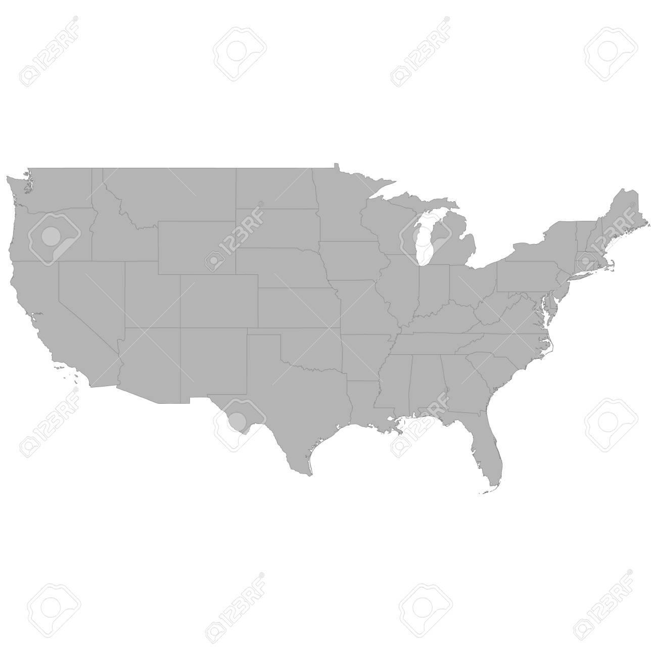 High Quality Map Of United States With Borders Of The Regions On ...