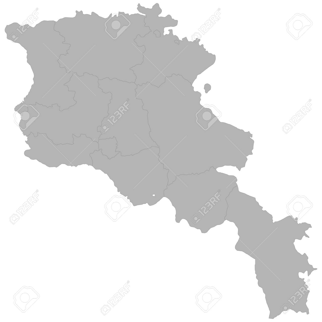 High quality map of Armenia with borders of the regions on white background