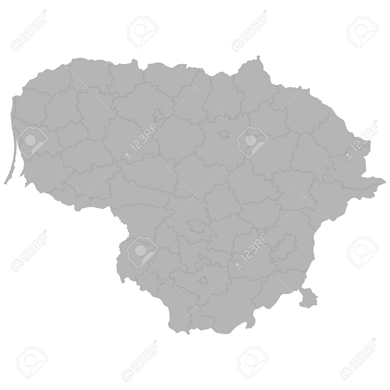 High quality map of Lithuania with borders of the regions on white background - 108376042