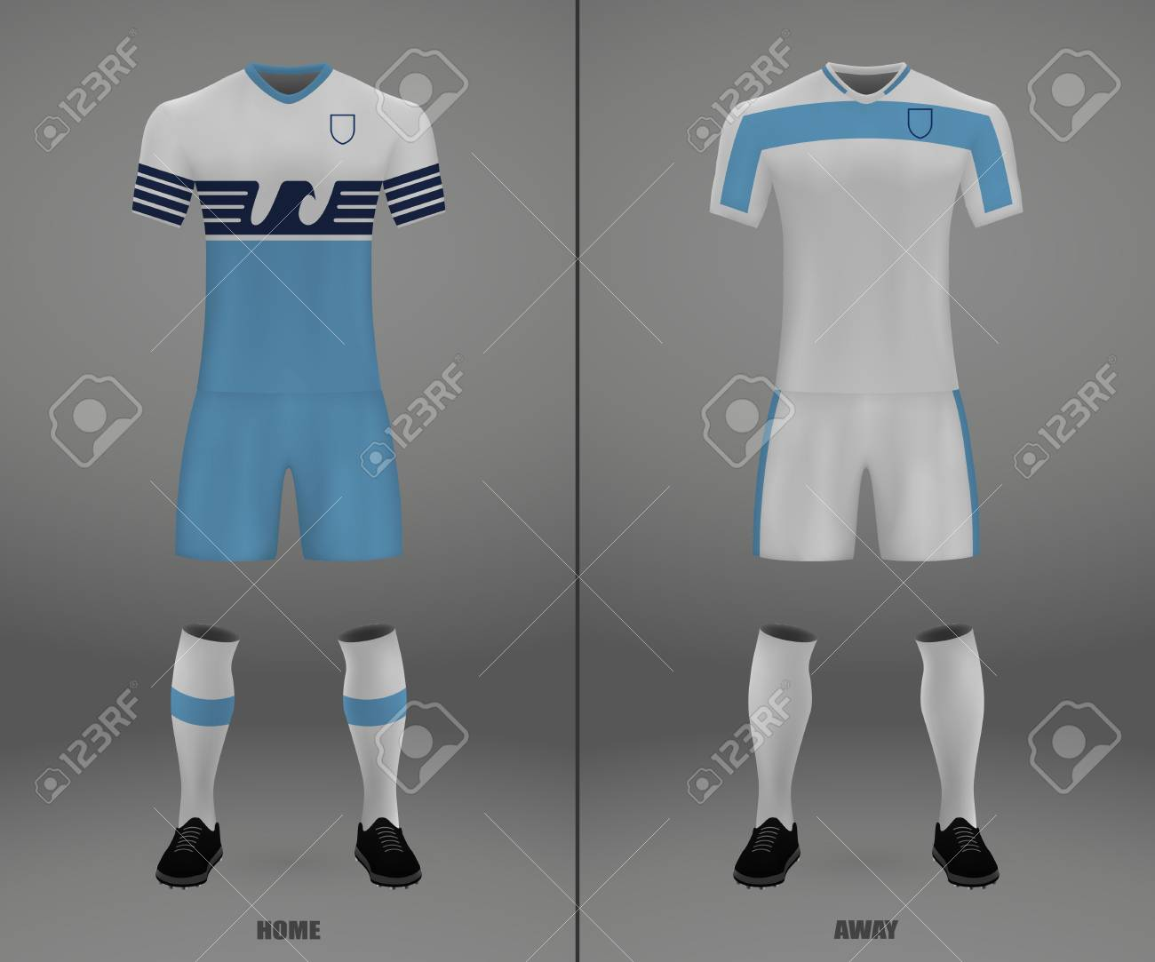 d8e45528b football kit Lazio 2018-19, shirt template for soccer jersey. Vector  illustration Stock