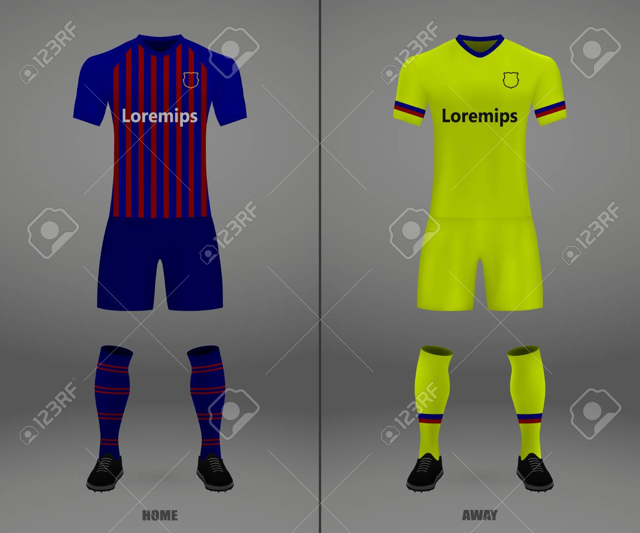 0ed50a59497 football kit Barcelona 2018-19, shirt template for soccer jersey. Vector  illustration Stock