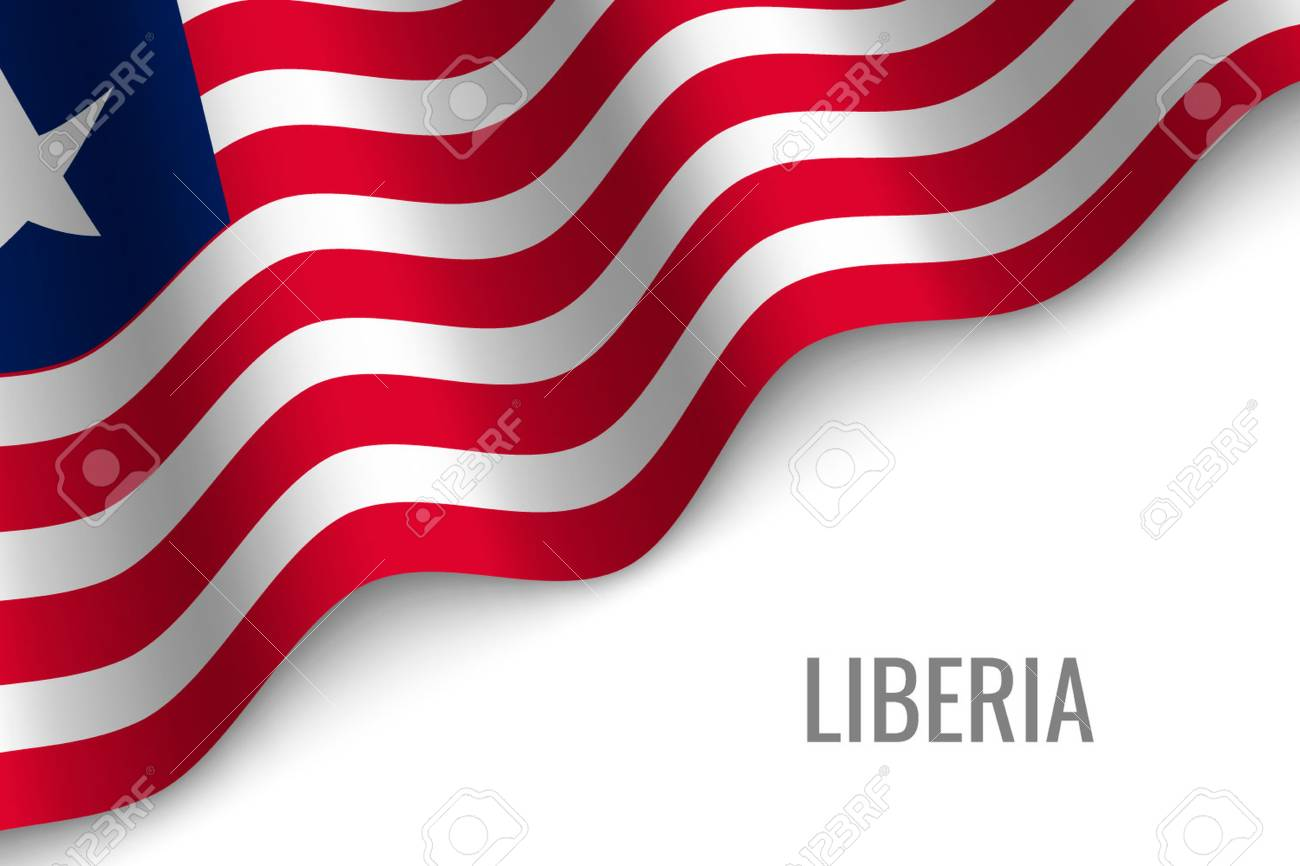 waving flag of Liberia with copyspace  Template for brochure