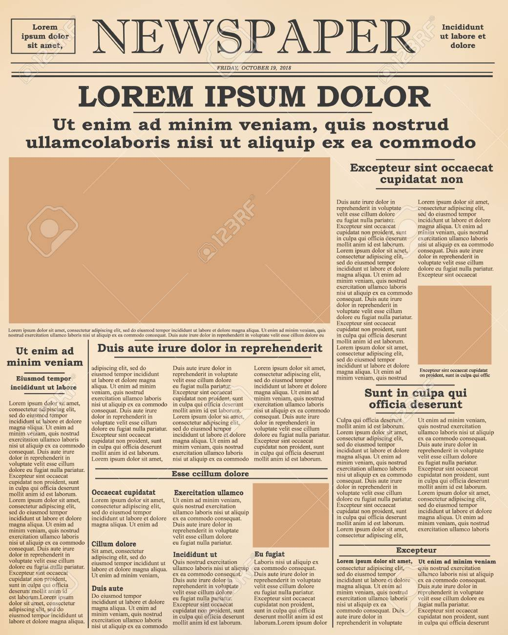 realistic old newspaper front page template vector illustration