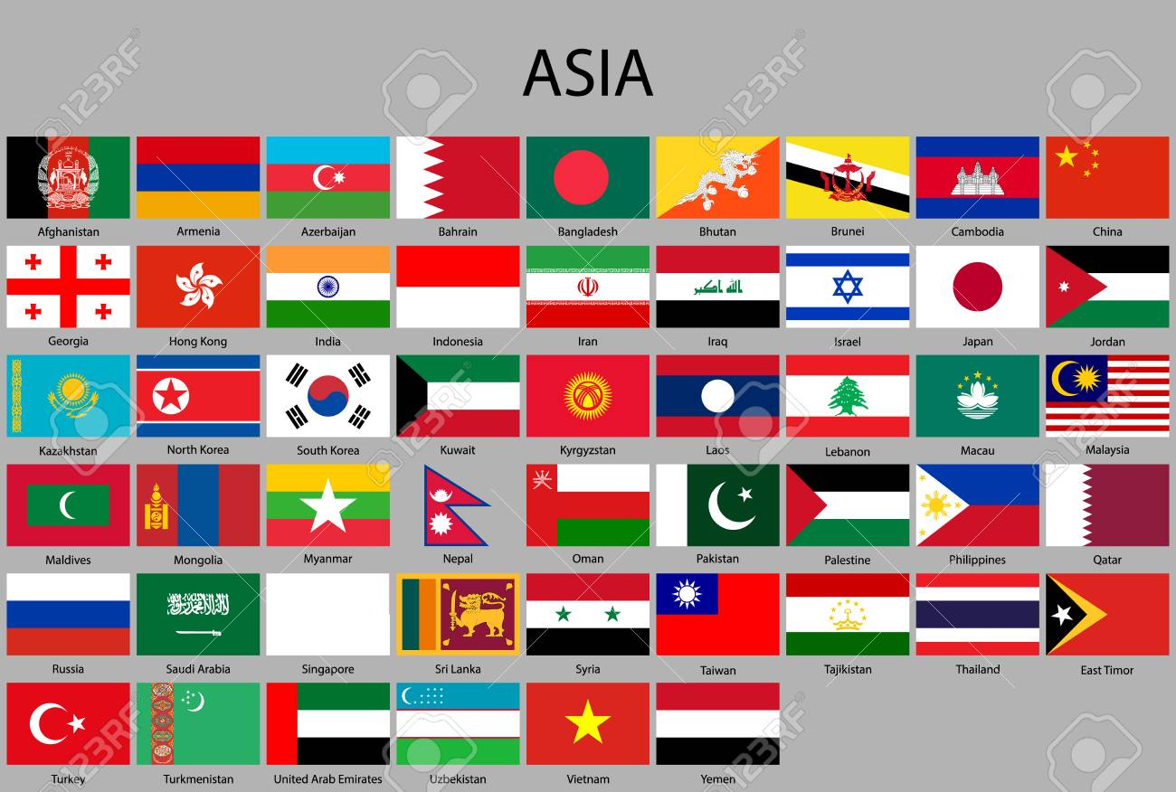 all flags of Asia. Vector Illustration - 110485996
