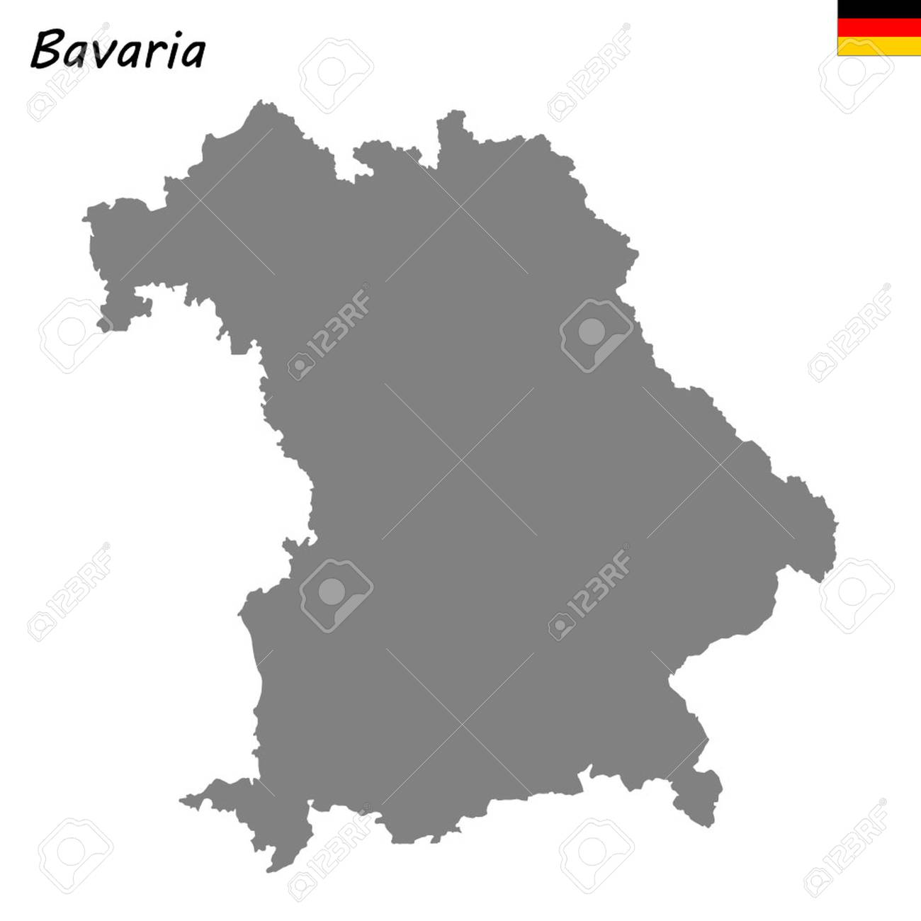 Map Of Germany Bavaria.High Quality Map Is A State Of Germany Bavaria Royalty Free
