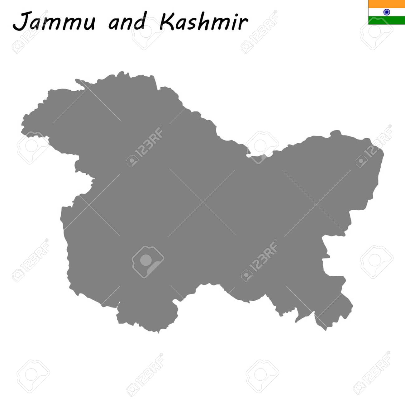 High Quality Map Of Jammu And Kashmir Is A State Of India Royalty ...
