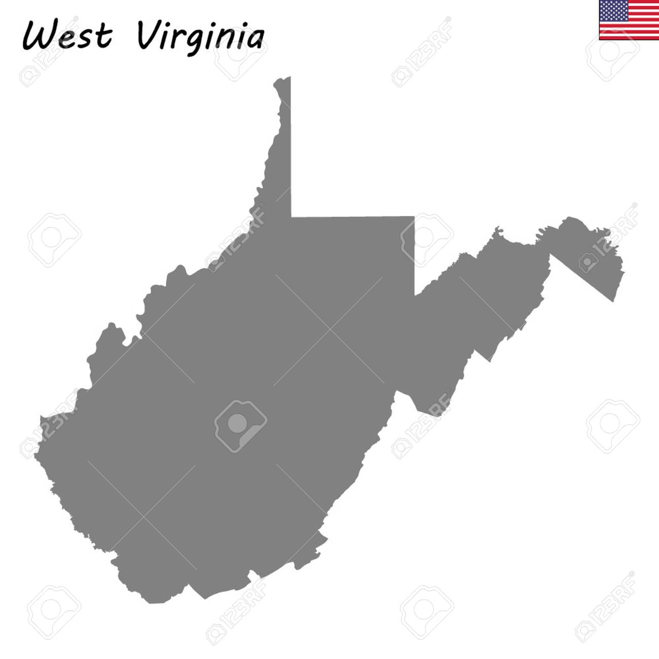High Quality Map State Of United States. West Virginia Lizenzfrei ...